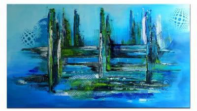 Meeresgrund - abstraktes Leinwandbild